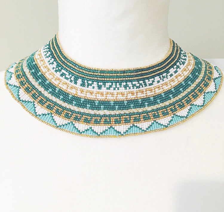 Turquoise Beaded Collar- PRE ORDER