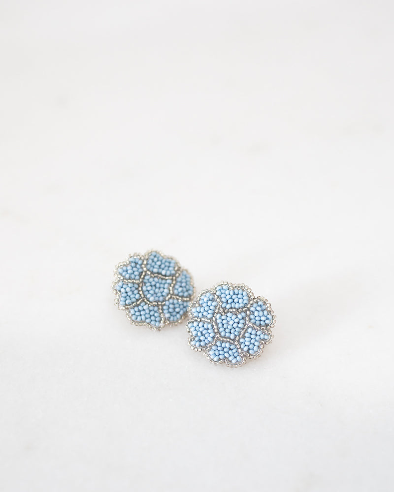 Light Blue and Silver Poppy Earrings