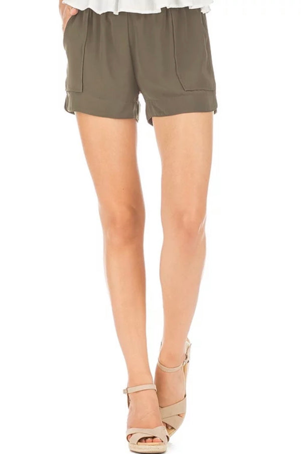 Olive Pull On Shorts