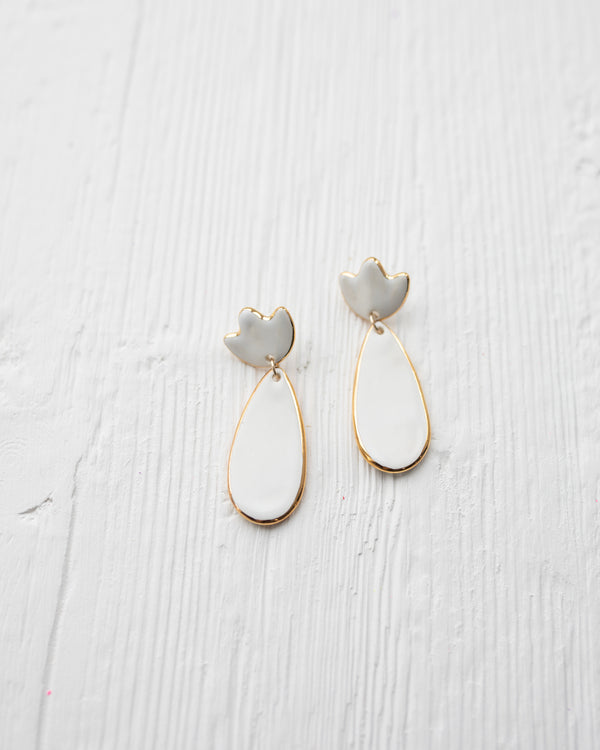 Susan Gordon White Flower Clay Earrings