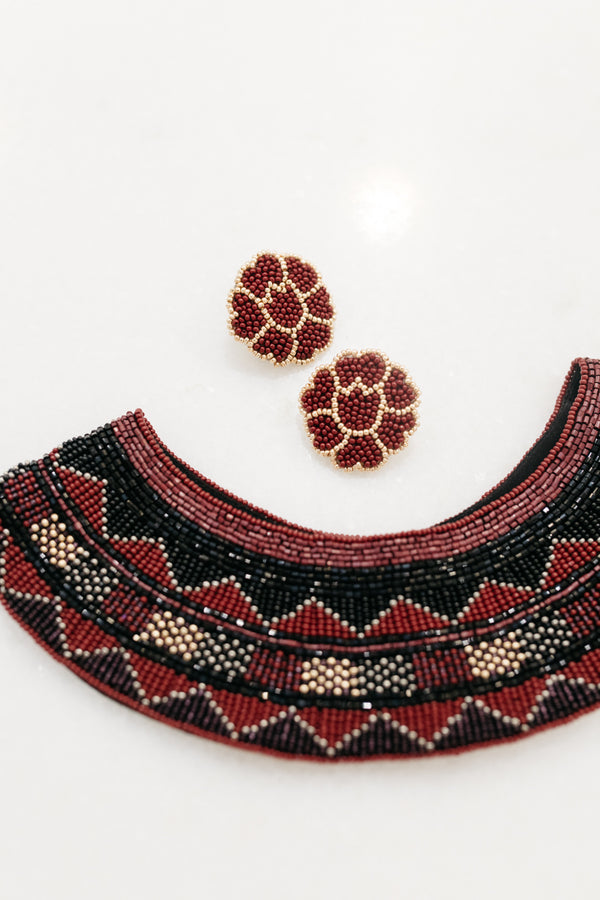 Burgundy and Black Beaded Collar