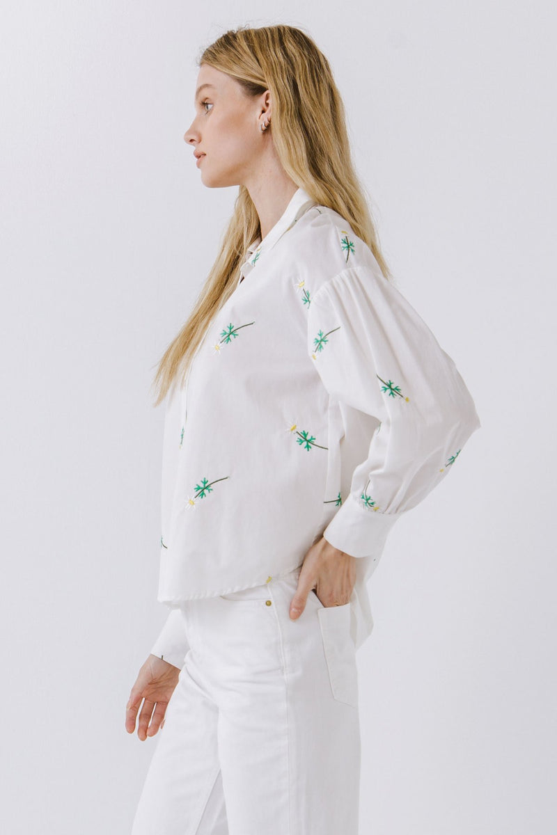 White Embroidered Poplin Collared Top