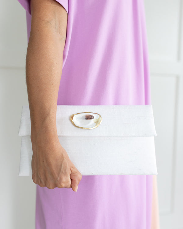 The Willow White Silk Clutch with Oyster