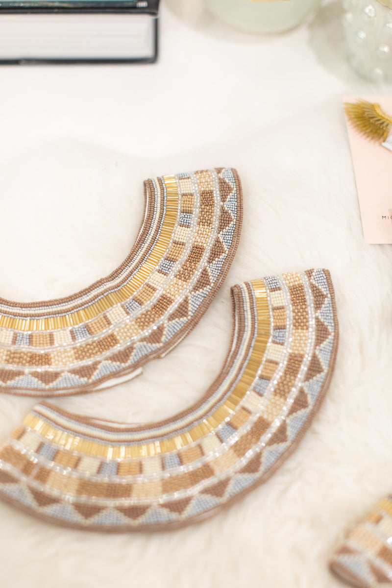 Beaded Gold, Tan and Silver Collar