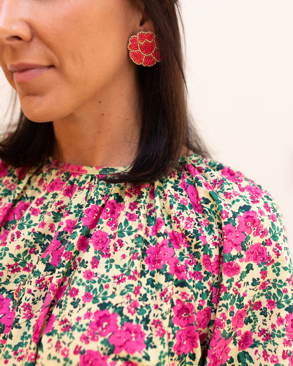 Fuchsia Poppy Earrings