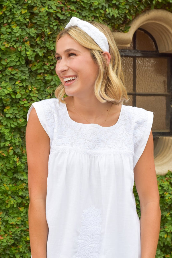 White Embroidered Headband