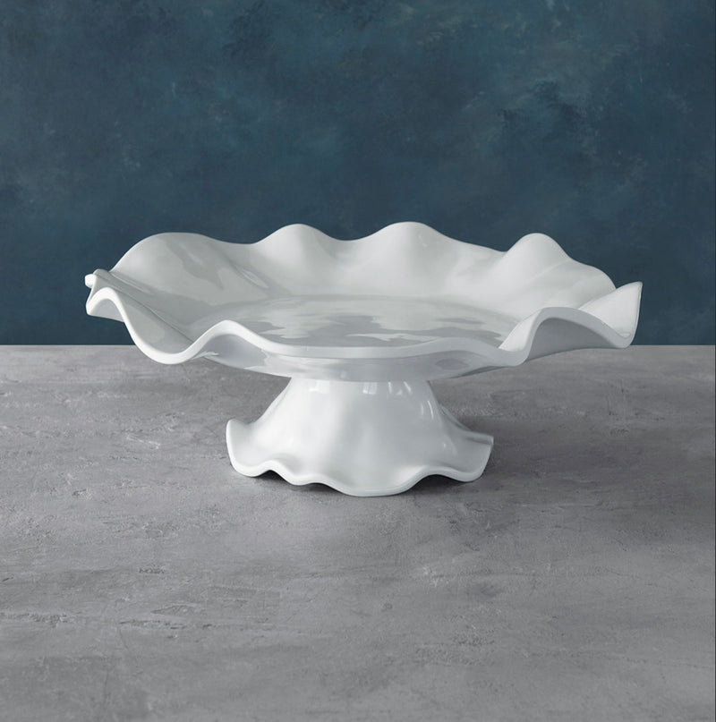 VIDA Havana White 3 in one - Pedestal Cake Plate, Platter and Dip Set