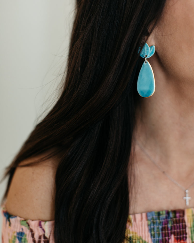 Deep Turquoise Floral Clay Earrings