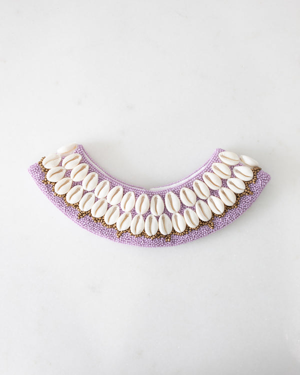 Beaded Lilac Cowrie Collar