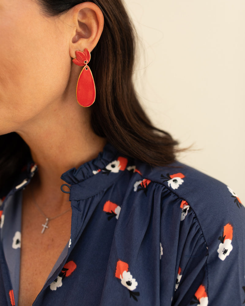 Susan Gordon Red Floral Clay Earrings