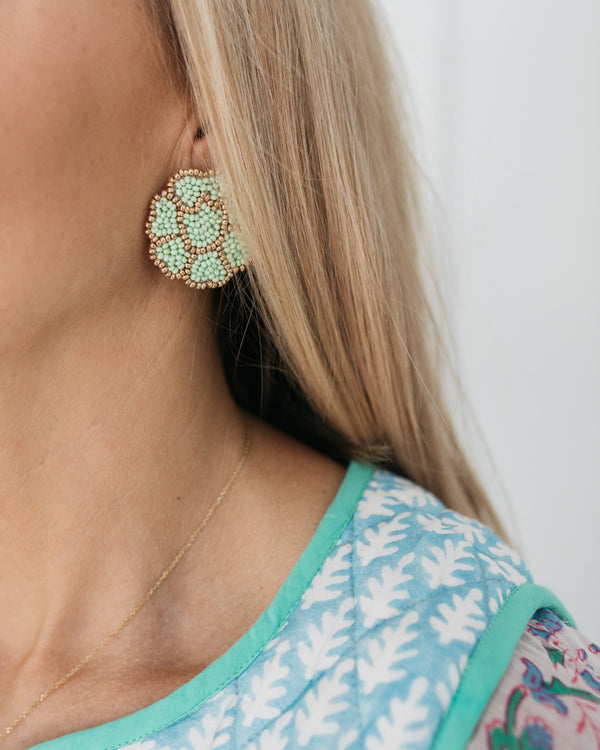 Light Green Poppy Earrings