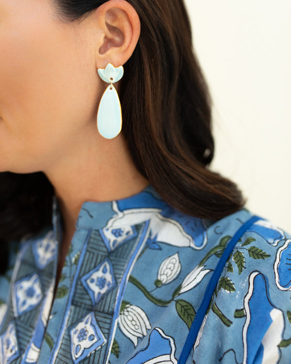 Susan Gordon Light Blue Floral Clay Earrings