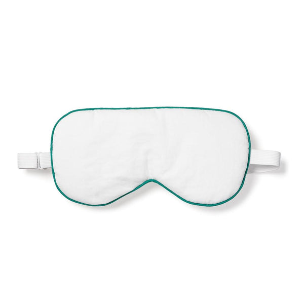 Adult White with Green Piping Traditional Eye Mask