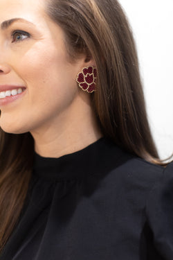 Crimson/Burgundy Poppy Earrings