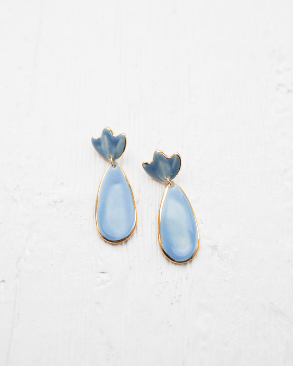 Susan Gordon French Blue Floral Clay Earrings