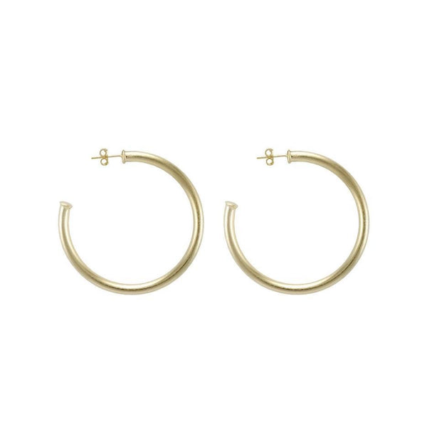 Brushed 18K Gold Hoop Earrings by Sheila Fajl