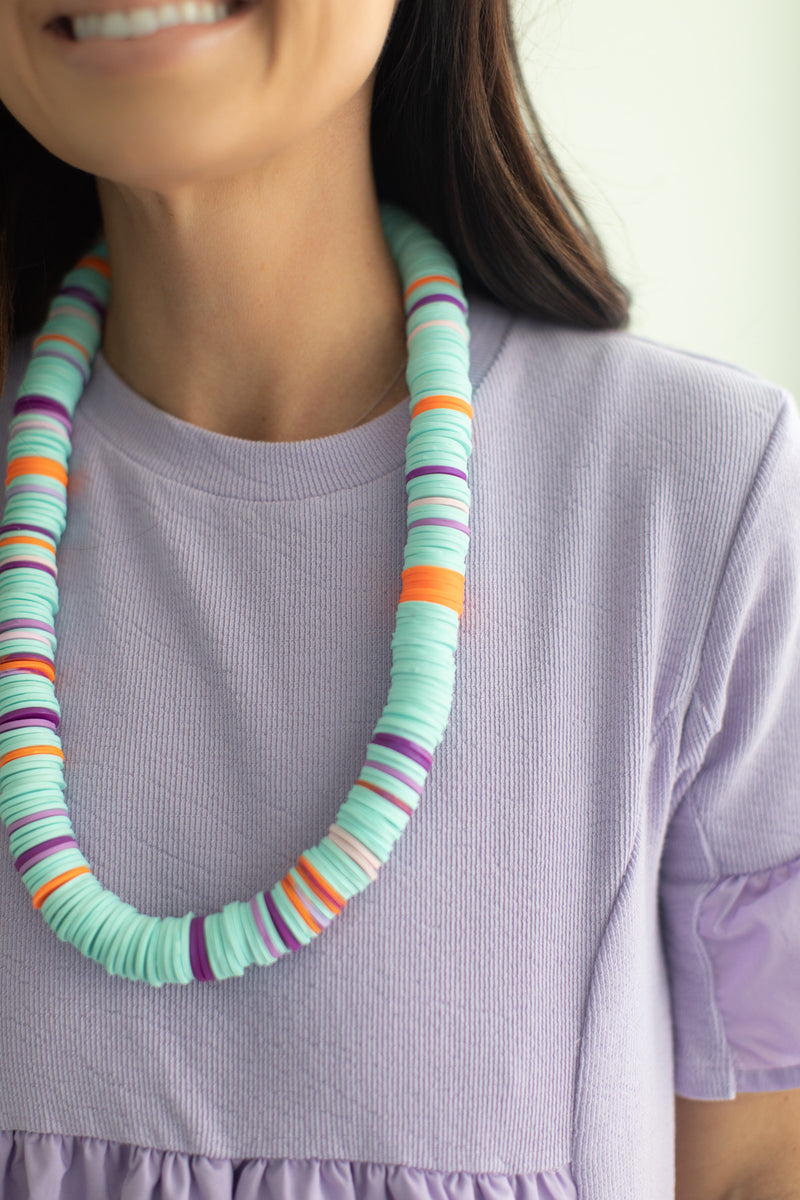 Teal and Purple Multi Clay Tribal Necklace