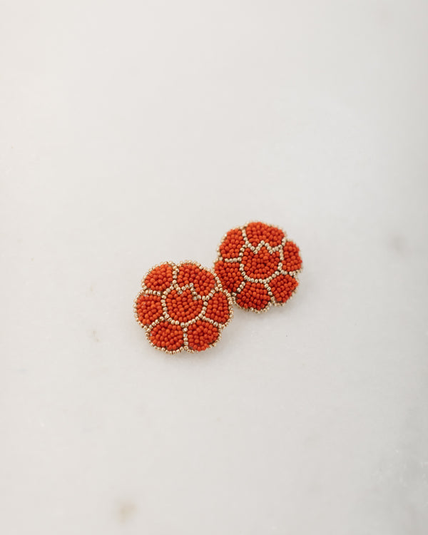 Hand beaded Red Poppy Earrings