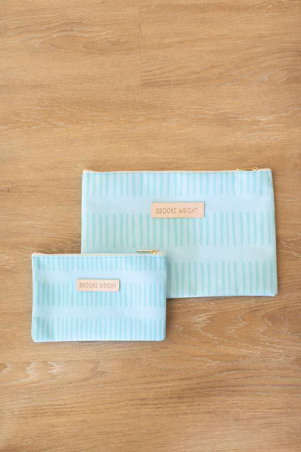 Brooke Wright Turquoise Ticking Clutch