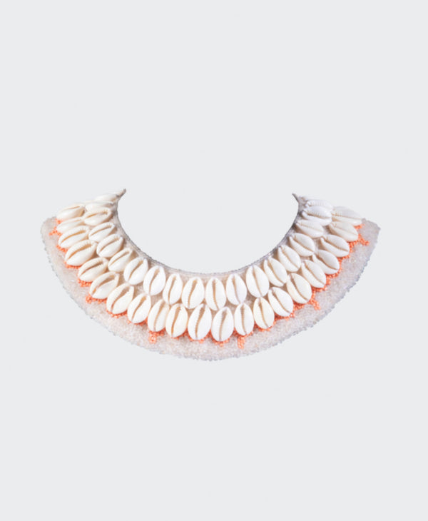 Cowrie Collar - Neutral with Coral