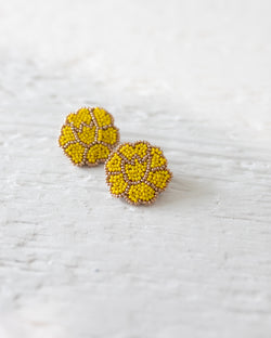 Bright Yellow Poppy Earrings
