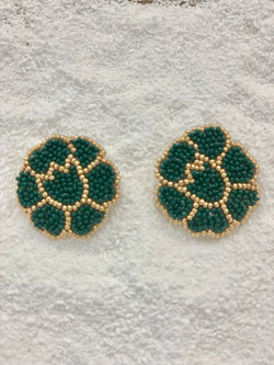 Dark Green Poppy Earrings
