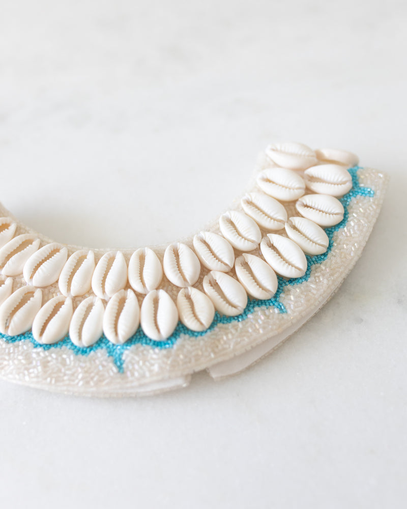 White and Teal Cowrie Collar