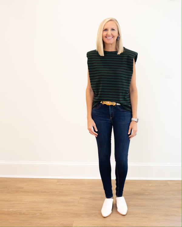 Navy and Green Stripe Shoulder Pad Top