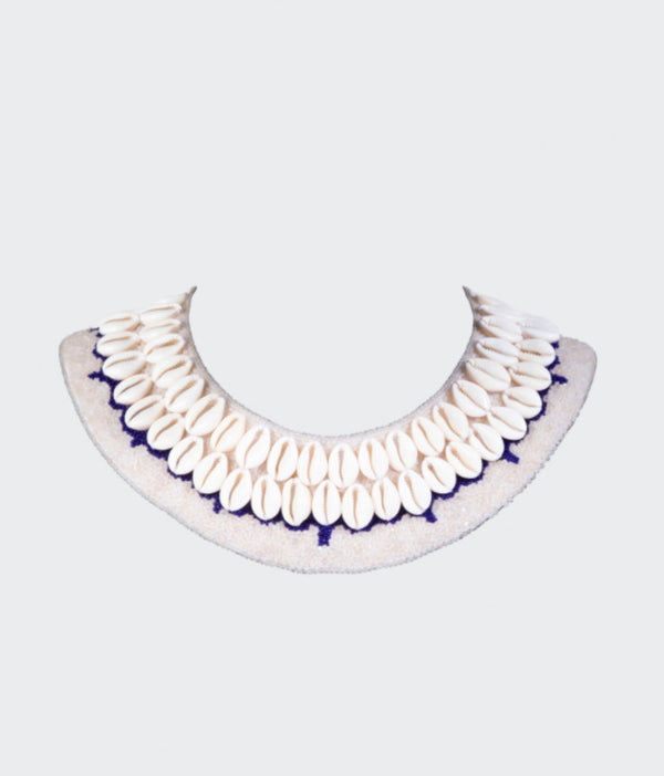 Cowrie Collar - Neutral with Navy Blue