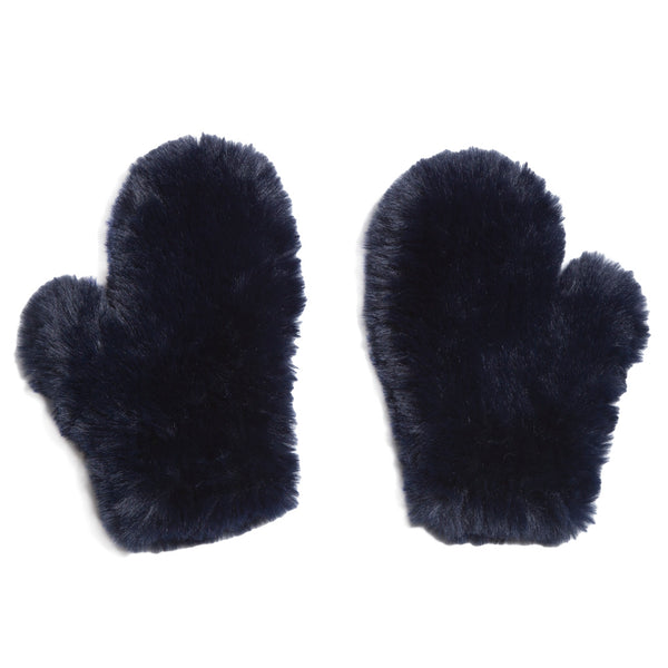 Faux Fur Navy Mittens