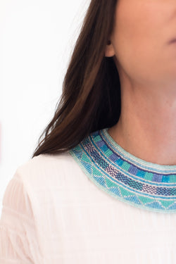 Multi Blues Beaded Collar