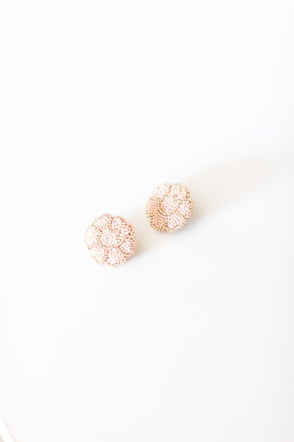 Blush and Gold Poppy Earrings