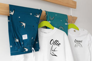 Personalised Children's Pyjamas, swallow print