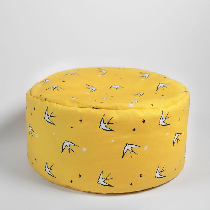 Yellow swallow footstool/beanbag with carry handle, Ingrid Petrie for Little Jagger