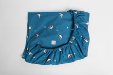 Load image into Gallery viewer, Blue Swallows Fitted Sheet, Ingrid Petrie for Little Jagger