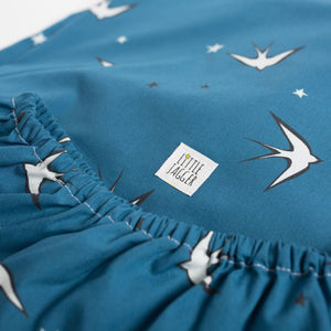 Blue Swallows Fitted Sheet, Ingrid Petrie for Little Jagger