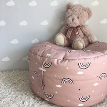 Load image into Gallery viewer, Pink Rainbow footstool/beanbag with carry handle, Ingrid Petrie for Little Jagger