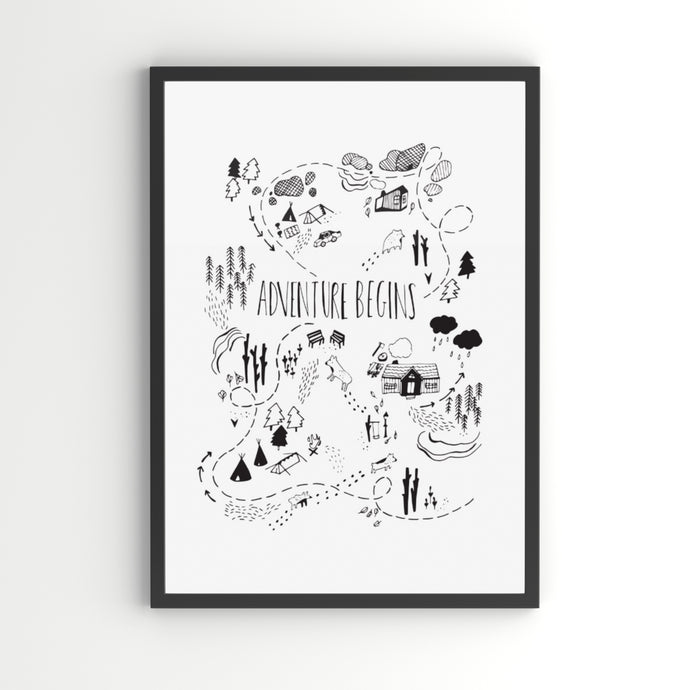 Adventure Begins A4 Children's Art Print
