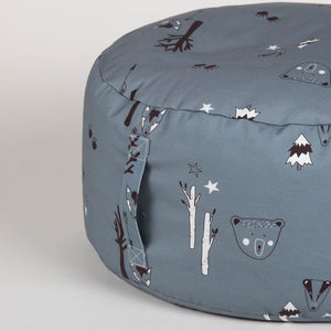 Petrol blue woodland beanbag with carry handle