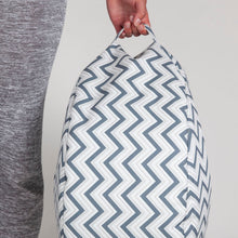 Load image into Gallery viewer, Petrol blue chevron Beanbag with carry handle