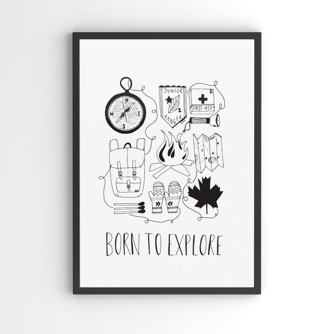 Born To Explore A4 Children's Art Print