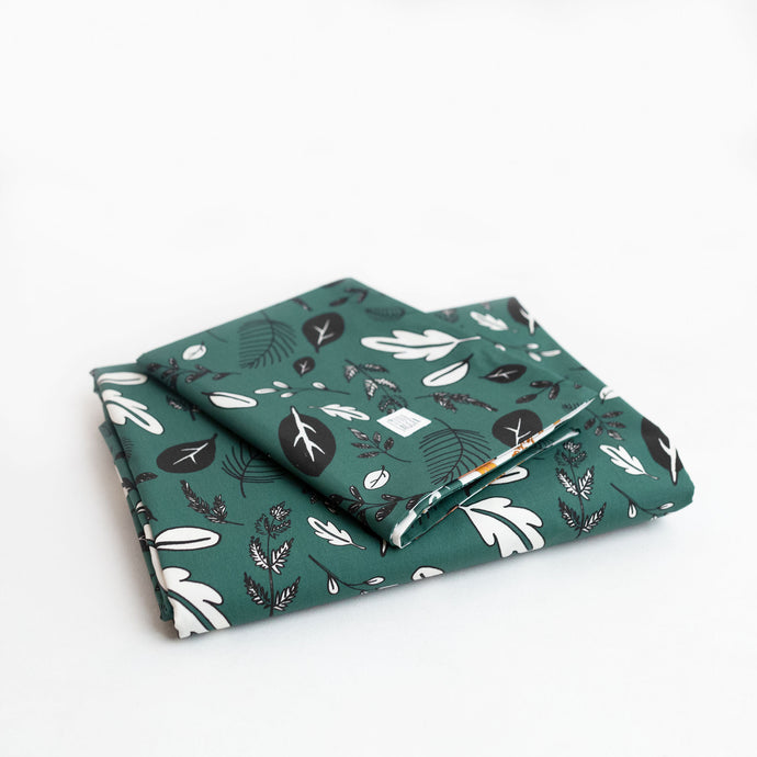 Forest Green Leaf Print Bedding Set