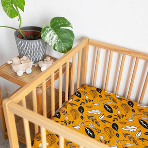 Ochre Yellow Leafy Fitted Sheet