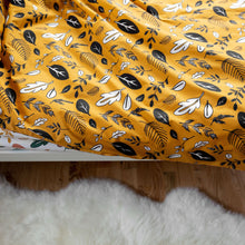 Load image into Gallery viewer, Ochre Yellow Leaf Print Duvet Set
