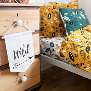 Ochre Yellow Leaf Print Duvet Set