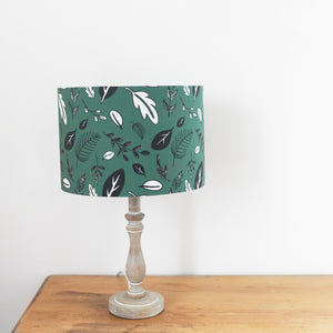 Leaf Print, White Lined Drum Shade