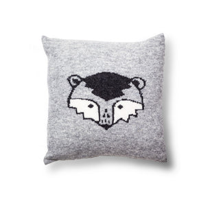 Knitted Ronnie Raccoon Cushion