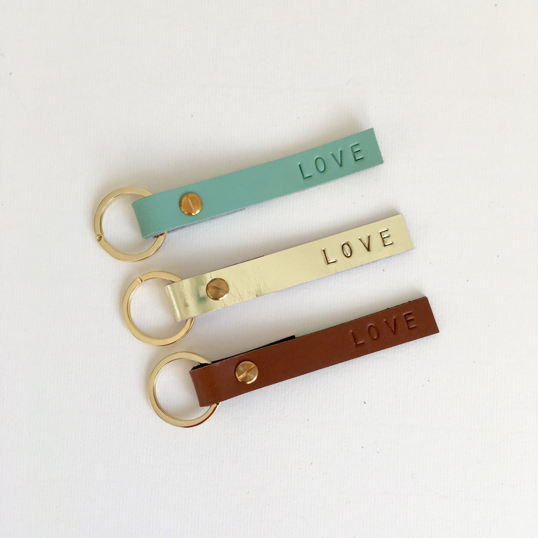 'Love' Konoc Leather Keyring