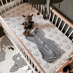 Monochrome Billy Bear Cot Sheet