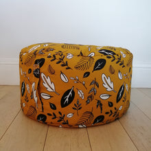 Load image into Gallery viewer, Leaf print footstool beanbag